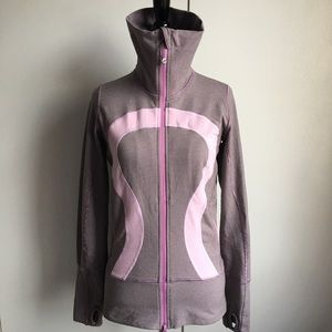 Lululemon Striped Full Zip Jacket 4 Gray Purple